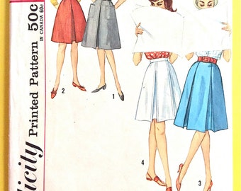 Skirt Pattern 1960s Simplicity 4896  Slightly flared skirts have a left side zipper, inverted pleat Vintage Sewing Pattern Waist 24
