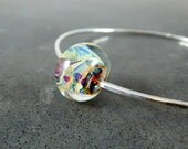 Sterling Silver Bangle Bracelet, Stacking Bracelet, Purple Beige Peach Glass Bracelet, Simple Bracelet, Hammered Silver Bracelet, Lampwork