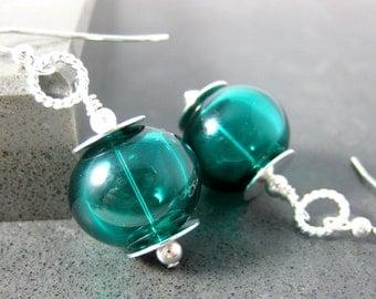 Teal Hollow Glass Bead Dangle Earrings, Blown Glass Earrings, Simple Earrings, Lampwork Earrings, Sterling Silver Earrings, Everyday Jewelry
