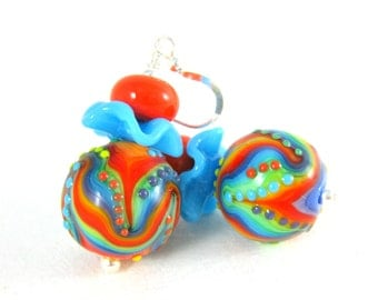 Rainbow Ripple Earrings, Colorful Ruffle Earrings, Round Lampwork Earrings Bright Color Glass Earrings, Psychedelic Earrings Hippie Earrings
