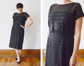 1950s Black Eyelet Dress with Matching top - M