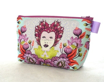 Tula Pink Fabric Large Cosmetic Bag Zipper Pouch Padded Makeup Bag Cotton Zip Pouch Queen Elizabeth 16th Century Selfie Plum Purple MTO