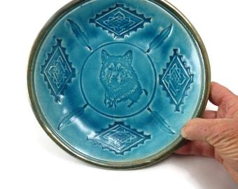 Wolf Bear and Thundercloud Bowl Handmade Ceramic Raku Pottery