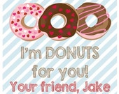 Valentine Donut Stripe Sticker, Gift Enclosure Card or Return Address Label - Set of 24
