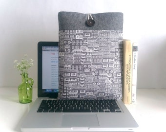 """Laptop Sleeve Custom MacBook Case, 11"""" MacBook Air, New 12"""" inch MacBook, 13"""", 15.4"""" Macbook Sleeve with Pocket - Cities"""