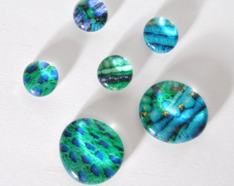 teal and blue magnet or push pin set - made from recycled magazines, stocking stuffer, hostess gift, graduation