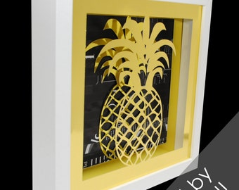 GOLD pineapple in a WHITE shadowbox- made from recycled magazines,summer, fruit, modern, contemporary, interior design
