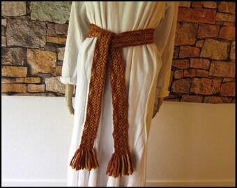 Wide Tablet Weaving Viking Belt in Gold and Orange