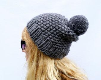 Chunky Knit Wool Bobble Hat - Grey