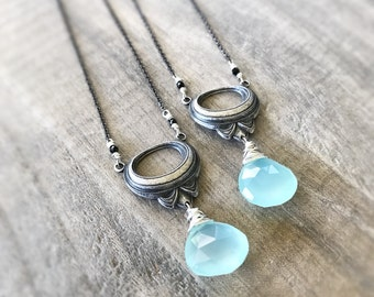 Aqua Blue Necklace, Sterling Silver Necklace, Blue Chalcedony, Victorian Pendant, Blue Necklace, Teal Blue Gemstone Necklace, Gunmetal Chain