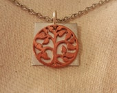 Tree of Life Necklace copper Pendant Pewter Square Pendant stainless steel chain Family a Tree Jewelry Botanical Garden Jewelry
