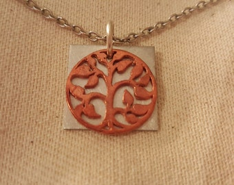 Jewelry Sale Tree of Life Necklace copper Pendant Pewter Square Pendant stainless steel chain Family a Tree Jewelry Botanical Garden Jewelry