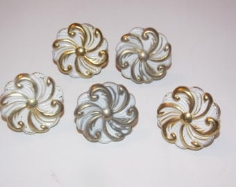 5 1960s Metal Gold and White Flower Drawer Pulls