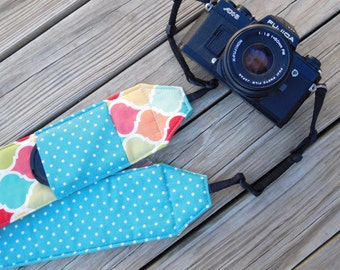 Monogrammed Camera Strap For DSL in Multi Lattice Print With Turquose Polka Dot Reverse and Lens Cap Pocket