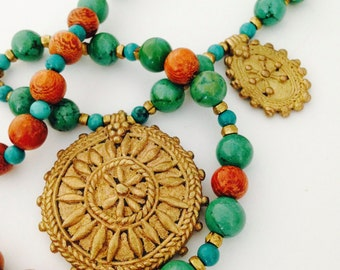 Turquoise brass necklace, ethnic charm necklace, Vintage Brass necklace