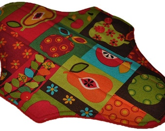 Moderate Core- Patchwork Fruit Reusable Cloth Maxi Pad- WindPro Fleece 10 Inches (25.5 cm)