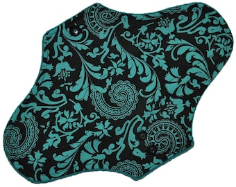 Moderate Hemp Core- Teal Paisley Reusable Cloth Maxi Pad- WindPro Fleece- 10 Inches (25.5 cm)