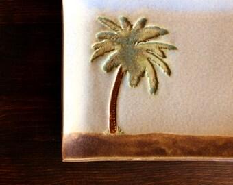 Cute Handmade Stoneware PALM TREE Soap Dish / Multi-Purpose Dish
