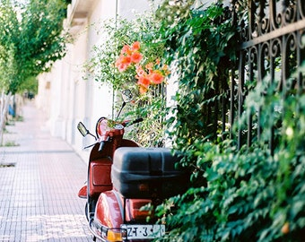 City Landscape Photography, Athens Greece Photography, Photography Print, Scooter Photo, City Scene Photography, Moped, City Streets Photo