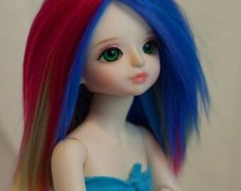 """Yo-SD Suri Alpaca fiber Doll Rainbow Wig 6.35"""" 6-7"""""""