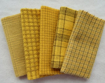 """Yellow Hand Dyed Felted Wool Fabric 5"""" x 5"""" Wool Charm Pack of 5 Quilting, Sewing, Wool Applique"""