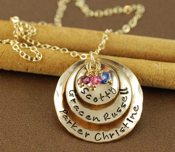 Gold Personalized Name Necklace, Mommy Necklace, Hand Stamped Necklace, Personalized Mommy Necklace,  Mother Jewelry,