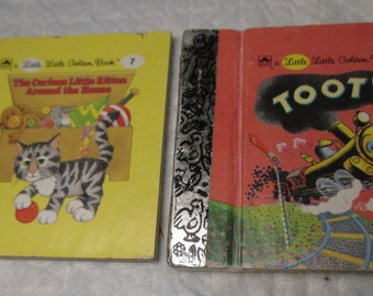 2 different LITTLE LITTLE GOLDEN Book miniature Tootle & The Curious Cat vintage