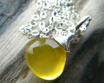 Bright yellow chalcedony faceted briolette necklace - sterling silver handmade jewelry