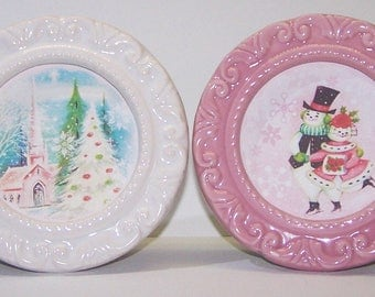 Pictures, Holiday Decor, Vintage Christmas, Snowmen, Pink, White, Church, Pine Trees, Skating, Couple, Gifts for Her, Snowflakes, Porcelain
