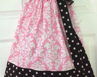 READY TO SHIP Pink and Black  Damask Pillowcase Dress Size 2