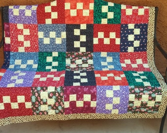 Lap Quilt, Baby Quilt, Gift for Father's Day, Multi Colors, Masculine Quilted Throw, Quilted Bedding, Masculine, Dad Quilt, Quiltsy Handmade