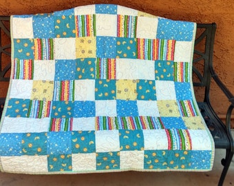 Pastel Lap Quilt, Handmade Quilt, Blue Yellow White, Moons and Stars, Toddler Blanket, CIJ