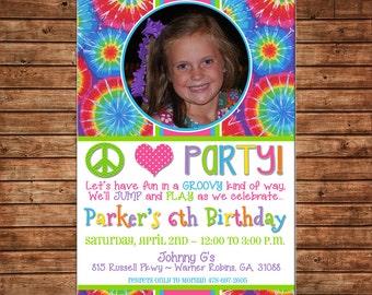 Peace Love Party Tie Dye Tiedye Tween Photo Picture Birthday Invitation - DIGITAL FILE