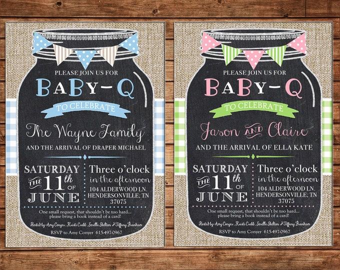 Mason Jar Burlap Rustic Baby Q BBQ Bunting Gingham Wedding Bridal Baby Shower Luncheon Birthday Invitation - DIGITAL FILE