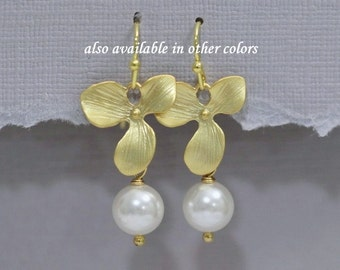 Matte Gold Orchid Earrings with Swarovski Pearls, Swarovski White Pearl and Orchid Earrings, Bridesmaid Earrings, Bridesmaid Gift