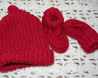 Red cap and booties