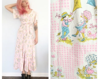 Vintage 70s Strawberry Shortcake Maxi Dress