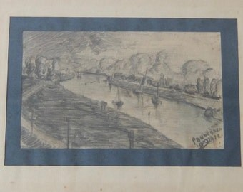 Original Dutch pencil drawing of the Rijn at Pannerden, pencil on paper, signed and dated 1918