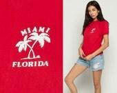 Florida Shirt MIAMI Palm Tree Tee Graphic Shirt Tropical Travel Tshirt 80s Vintage Retro T Shirt Raglan Sleeve Red Slouch Small Medium