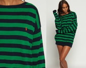 Striped Sweater 80s RALPH LAUREN Slouchy Polo Sport Navy Blue Cotton Knit Jumper Pullover Green 90s Slouch Vintage Retro Large xl