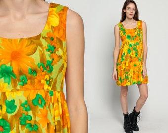 Floral Babydoll Dress 60s Mod Mini WATERCOLOR Print Boho Empire Waist 70s Vintage Sixties Sleeveless Orange Green Flower Print Small