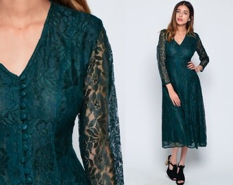 Green Lace Dress 80s Bohemian CORSET BACK Grunge Sheer Sleeve Green Long Fitted Party V Neck 1980s Boho Midi Vintage Button Up Small