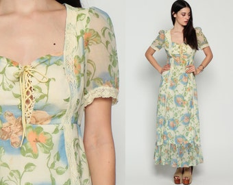 70s Maxi Dress Boho Floral LOVERS PRINT Prairie Lace Puff Sleeve 1970s Hippie Bohemian Empire Waist Ruffle Festival Vintage Small