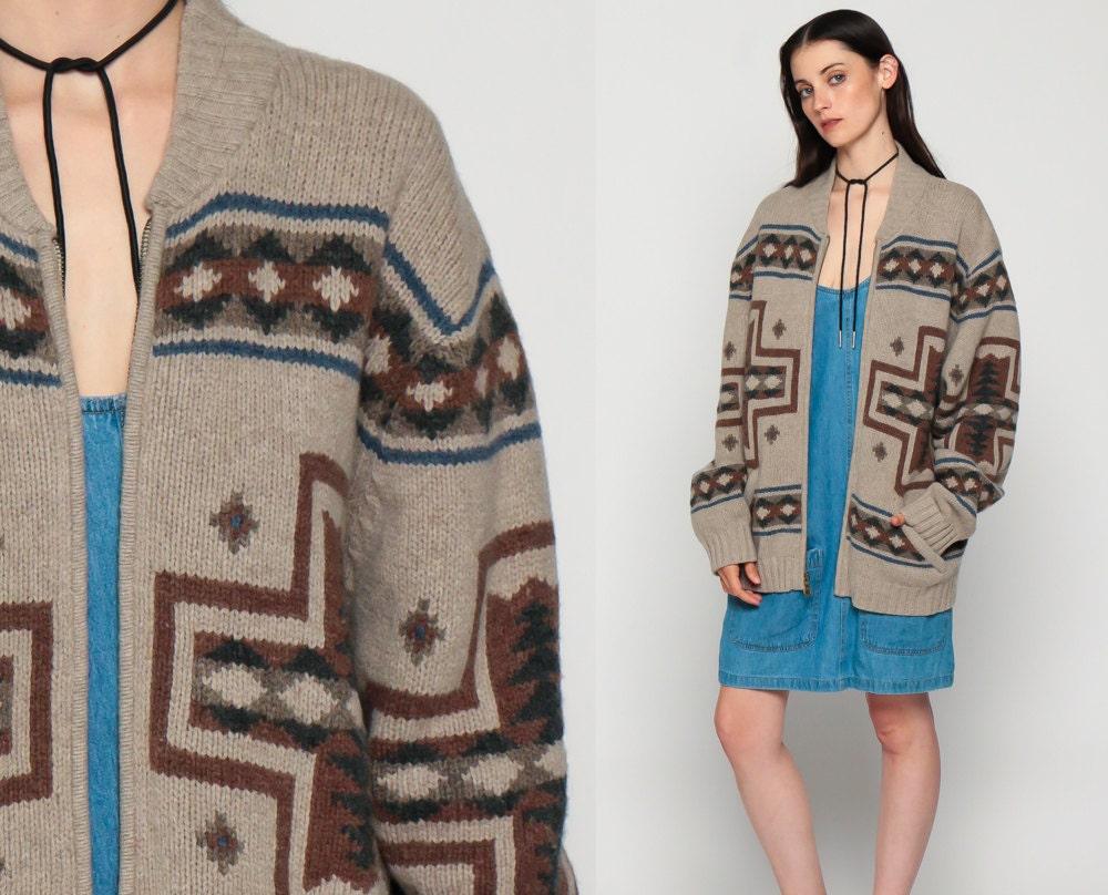 Pendleton WOOL Sweater Cowichan Cardigan Native American 80s