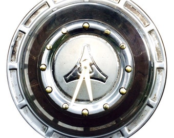 Vintage Wall Clock made from Dodge Cornet Hubcap, clock with dots for numbers, (v hubcap art)
