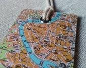 Rome Italy original vintage map luggage tag
