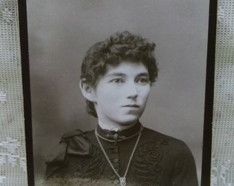 Antique Cabinet Photo-Pretty Young Lady-Hairstyle-Fashion-Pin-Necklace-Owosso,MI