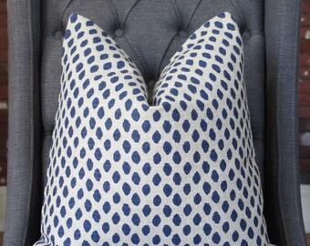 Blue Dots Pillow, Blue Ikat Dots, Indigo Pillow, Decorative Pillow, Throw Pillow, Toss Pillow, Home Decor, Home Furnishing