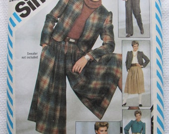 Simplicity 5618 Misses Vintage Sewing Pattern Pants Culottes Blouse Lined Jacket Size 12 Bust 34/1982