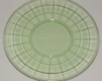 Green Block Optic Sherbet plate Hocking Glass Company